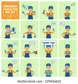Set of auto mechanic emoticons showing different situations. Cheerful mechanic karaoke singing, dancing, sleeping, holding banner, loudspeaker and doing other actions. Simple vector illustration