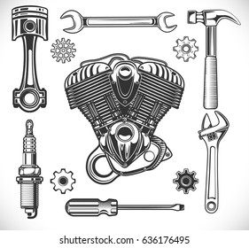 Set of auto and moto logos, garage, service, repair tools isolated on a white background. vector illustration