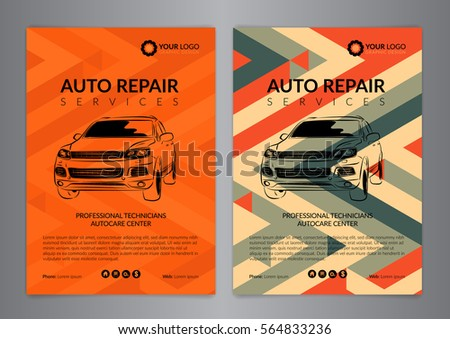 Set Auto Repair Business Layout Templates Stock Vector Royalty Free