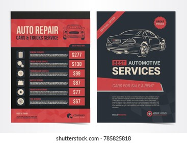 Set of Auto Repair Cars & Trucks Service layout templates, cars for sale & rent brochure, mockup flyer. Vector illustration.