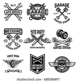 Set of auto service emblems. Service station auto parts tires shop mechanic on duty. Design elements for logo, label, emblem, sign. Vector illustration