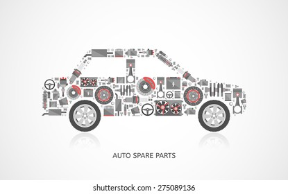 Set of auto spare parts. Car repair icons in flat style. Vector illustration EPS10.