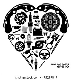 Set of auto spare parts. Heart shape. Vector illustration EPS10.
