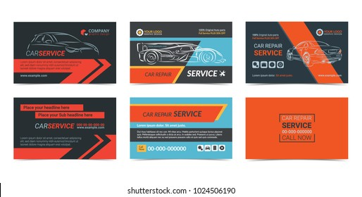 Set of Automotive repair Service business cards layout templates. Create your own business cards. Mockup Vector illustration.