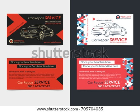 Set Automotive Service Business Cards Layout Stock Vector Royalty