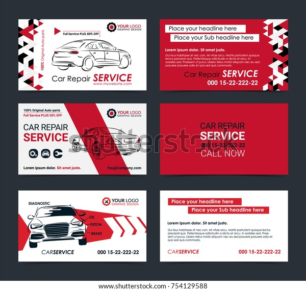 Set Automotive Service Business Cards Layout Stock Vector Royalty Free 754129588