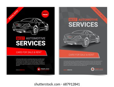 Set of AUTOMOTIVE SERVICES layout templates, cars for sale & rent brochure, mockup flyer. Vector illustration.