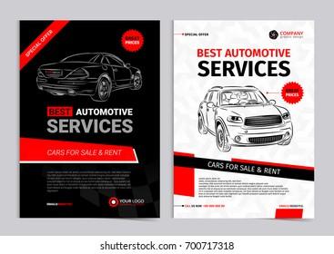 Set of AUTOMOTIVE SERVICES layout templates, cars for sale & rent brochure, mockup flyer. Vector illustration.
