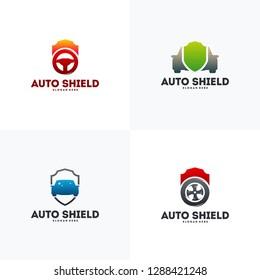 Set of Automotive Shield logo designs concept vector, Car Protect logo template