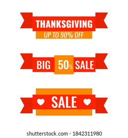 Set of Autumn advertising ribbons banners. Big Thanksgiving sale concept. Vector illustration.