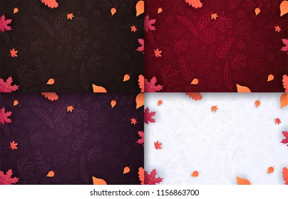 Set of Autumn Backgrounds with leaves for shopping sale, promo poster and frame leaflet, web banner. Vector illustration template