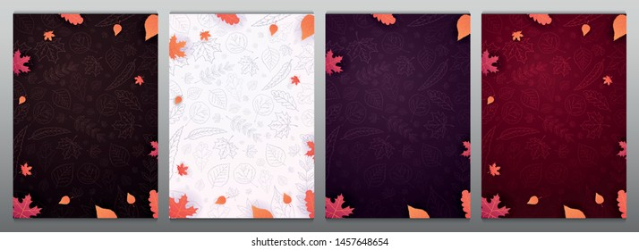 Set of Autumn backgrounds with leaves for shopping sale or promo poster and frame leaflet or web banner and social media