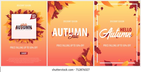 Set of Autumn Backgrounds with leaves for shopping sale or promo poster and frame leaflet or web banner. Vector illustration template