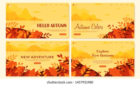 Set of autumn flat design banners. Seasonal nature banners with autumn landscapes. Social media banner, promo design, web page templates. Vector illustration with website concepts.