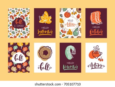 Set of autumn hand lettering cards. Design for poster, card, invitation, placard, brochure, flyer. Vector templates.