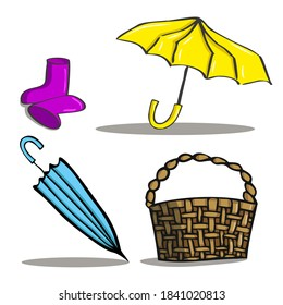 Set of autumn items. Yellow umbrella, blue umbrella, basket, pink rubber boots. Contour sketch, color.