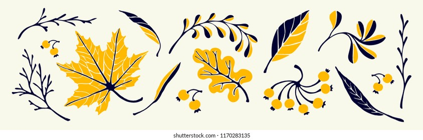 Set of autumn leaves in cartoon style. A cute background. Seasonal banner. September fall. October party. November  sale. Decorative border. Halloween. Maple branch.  Vector illustration.