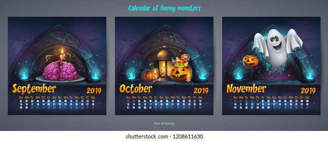 Set of autumn months calendar 2019. For web, video games, user interface, design, print