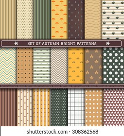 Set of autumn, orange, green patterns. Scrapbook design elements. 21 different autumn patterns can be used for wallpaper, pattern fills, web page,background,surface