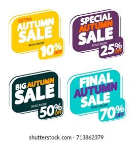 Set Autumn Sale, bubble banners, elements design template, design template, app icons, vector illustration