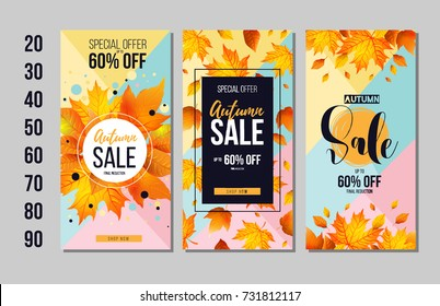 Set of Autumn sale flyer template with lettering, orange leaves. Fall promotion. Poster, banner, card, label, and other design. Vector illustration