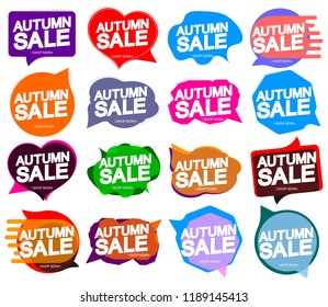 Set Autumn Sale, speech bubble banners design template, discount tags, app icons, vector illustration