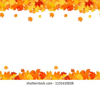 Set of autumn seamless footer and header for websites, ad, decoration. Falling leaves illustration.