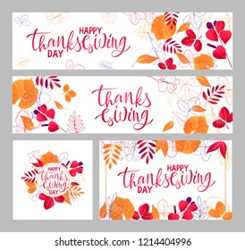 set of Autumn season banner. Greeting card with inscription Happy Thanksgiving and hand drawn leaves. Modern design poster with watercolor colorful imprints foliage of yellow, orange and red