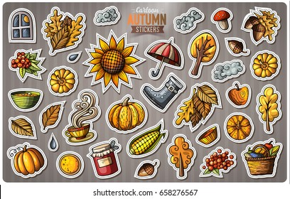 Set of Autumn season cartoon stickers. Vector hand drawn objects and symbols collection. Label design elements. Cute patches, pins, badges series. Comic style.