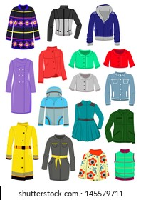 Set of autumn and spring jackets and raincoats isolated on white background