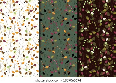 Set of autumn, spring seamless patterns with branches, berries and leaves.