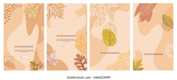 Set of autumn vertical background. Landing page, send a message, loading, authorization and search page. Concept for Website or Mobile App. Editable vector illustration