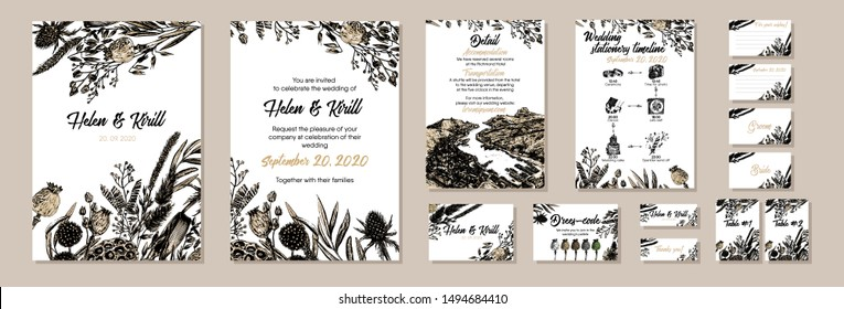 Set of Autumn wedding card template with hand drawn dried flowers, lotus,  thistle, spikes. Vector invitation card, timeline with icon, thank you card, detail information, dress-code card