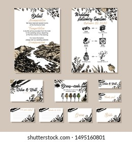Set of Autumn wedding card template with hand drawn dried flowers, lotus, 