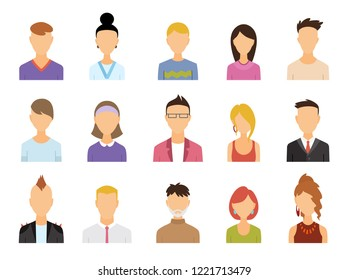 Set of Avatar Color Icons - Illustration. Vector people symbols.