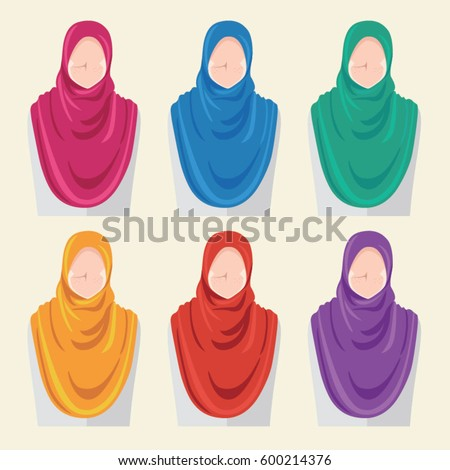 a2e40b30936d Set Avatar Icon Women Wearing Hijab Stock Vector (Royalty Free ...