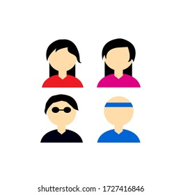 Set of avatar icons for girls, man, and coach. set of avatar icons. flat design vector