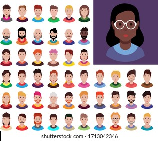 Set of avatar, people icons