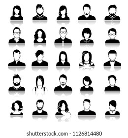 Set of avatar or user icons. Vector illustration. Silhouette of man and woman. Business people.