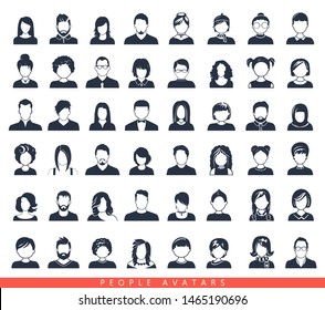 Set of avatar or user icons. Vector illustration. Silhouettes man and woman. Adult, youth and child heads. Business people. Colleagues, hiefs and employees.