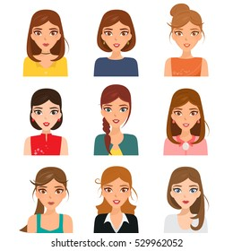 Set of avatar of woman character with occupation. Business woman vector design.