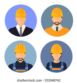 Set of avatars of the builders. Builders. Circle flat icons style. Male Builder. Woman Builder. Stock vector.