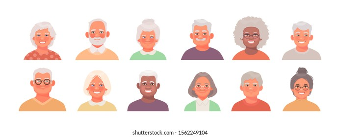 Set of avatars characters of older people. A collection of portraits of elderly men and women of different nationalities. Faces of grandparents. Vector illustration in cartoon style