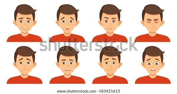 Set of avatars with child emotions including surprise, happiness, hurt, laugh, anger, smirk, grin cartoon style vector illustration of isolated layers on a white background