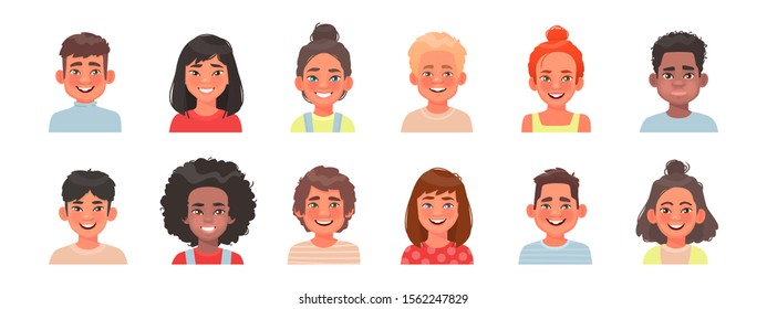 Set of avatars of children characters. Happy faces of boys and girls of different nationalities. Portraits of kids. Vector illustration in cartoon style