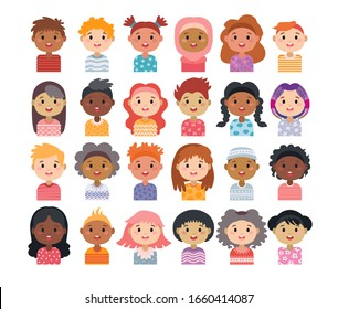 Set of avatars of children characters. Kids hairstyle. Child collection of little boys and girls cartoon avatars. Happy faces teenagers of different nationalities. Portraits of kids isolated on white