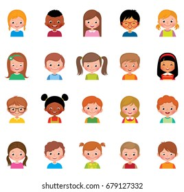 Set of avatars of different boys and girls/Icon set portraits of boys and girls isolated on white background