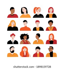 Set of avatars with different women and men. Heads of various people. Flat colorful vector illustration