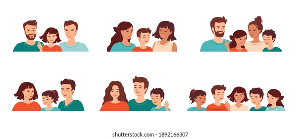 Set of avatars of diverse families with children. Smiling young people of different ages and nationalities. Homosexual male and female couples. Collection isolated vector illustrations.