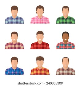 Set of avatars of guys in plaid shirts. Handsome men wearing classic flannel plaid shirts.